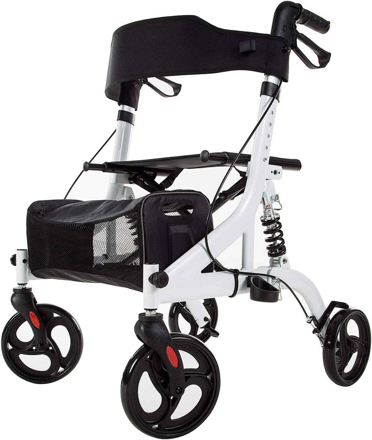 "ELENKER Rollator Walker with Seat, Rolling Mobility Walking Aid, Shock Absorber and Carrying Pouch, Compact Folding Design, Fits for Elderly from 5'2""-6'5"", Supports up to 350 LBS (White)"