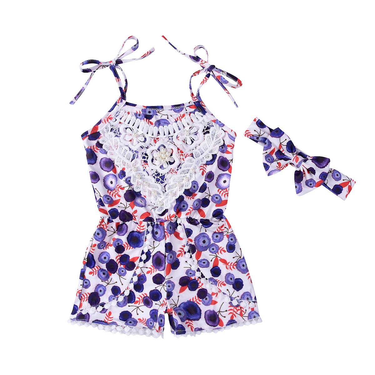 Lace Baby Girls Romper Blueberry Prints with Pearls Decor Overall for Toddler Girls