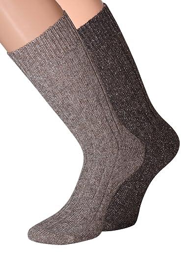 Woll Calcetines Hombre de lana con seda suave y cálido 39 - 42 43 - 46, 2 pares Beige Beige/Braun: Amazon.es: Ropa y accesorios