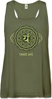 product image for Soul Flower Women's Recycled Racerback Tank - Choose Love Heart Chakra Olive Green Organic Cotton Yoga Top