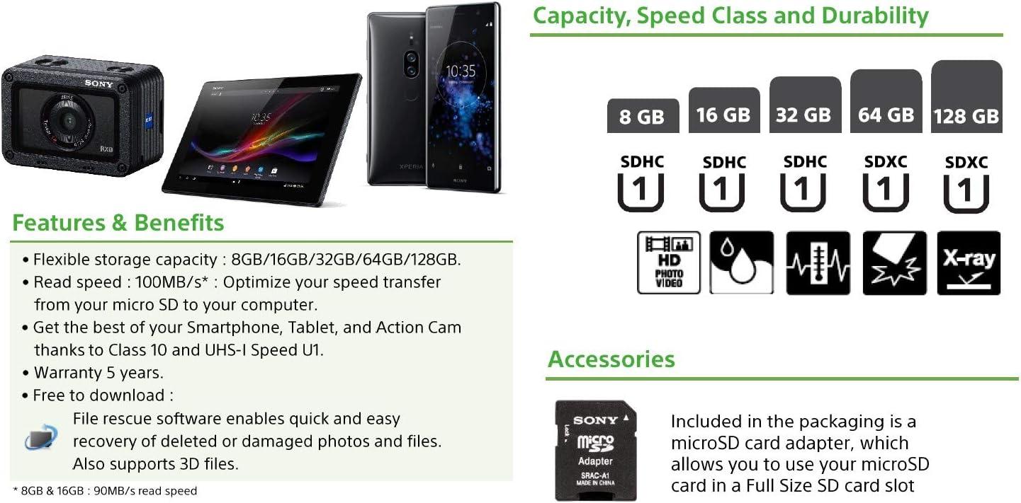 Sony SR-64UYA - Tarjeta Micro SDXC de 64 GB (incluye adaptador SD ...