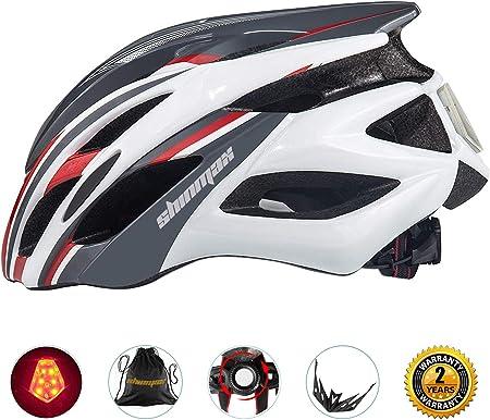 Shinmax自転車ヘルメット LEDヘルッドライト付き サイクリングヘルメット シンプルなヘルメットのバックパック ヘルメット