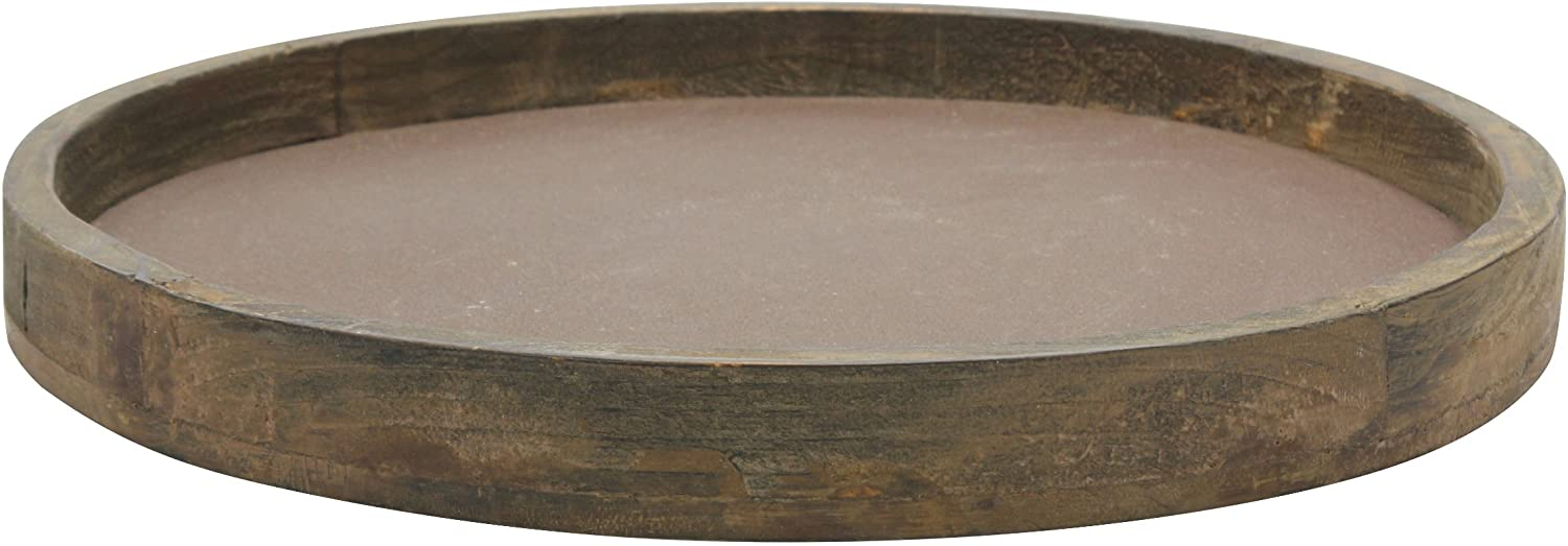New Rustic Primitive Country Distressed Black Wooden Scoop Candle Holder Tray