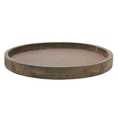 Stonebriar Rustic Natural Wood and Metal Candle Holder Tray, Home Decor Accessories for the Coffee Table and Dining Table, Large