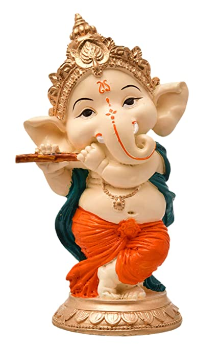 Karigaari India Handcrafted Resine Playing Flute Ganesha Idol Sculpture | Showpiece for Home D�cor and Office