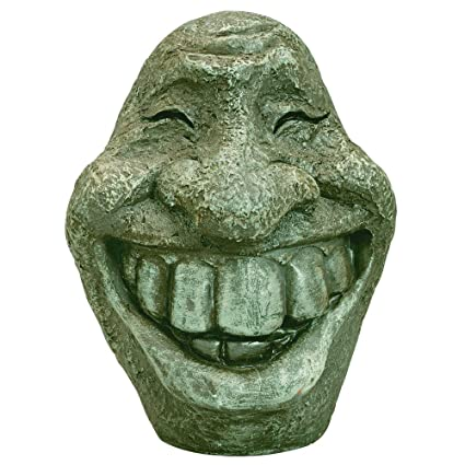 Bits And Pieces Big Stone Smiley Face Polyresin Garden Statue   Perfect  Ornament For