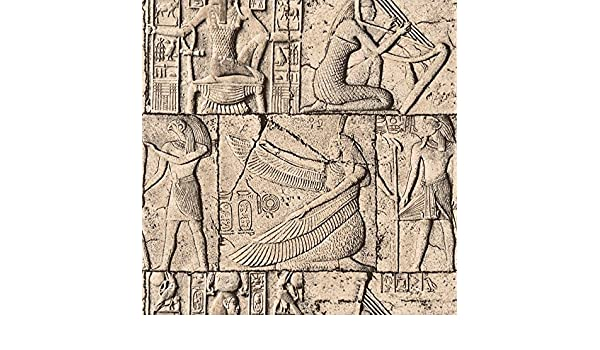 53cm x 10M KYKDY Retro impermeable de PVC en relieve 3D Wallpaper Egipto antigua cultura mural de piedra de la escultura cl/ásica de rollos de papel de pared de vinilo 3D
