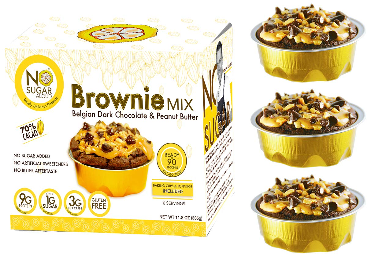 No Sugar Aloud, Brownie Mix (No sugar added, gluten free, Vegan, Keto and Diabetic friendly) by Life Can be Sweet Without Sugar