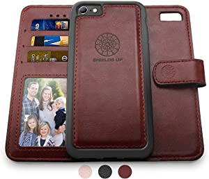 Shields Up iPhone 6S Case/iPhone 6 Case, [Detachable] Magnetic Wallet Case, Durable and Slim, Lightweight with Card/Cash Slots, Wrist Strap, [Vegan Leather] Cover for Apple iPhone 6S/6 -Brown