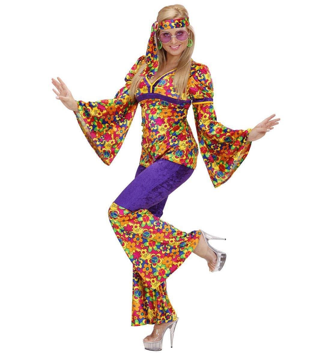 Ladies Velvet Hippie Girl Costume Medium Uk 10-12 For 60s 70s Hippy Fancy Dress