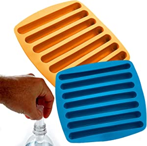 Kitch N' Wares Silicone Ice Cube Sticks Tray - 2 Pack - Blue and Orange - Shaped for Fitting in Water Bottles - Colorful, Flexible and Non-Stick