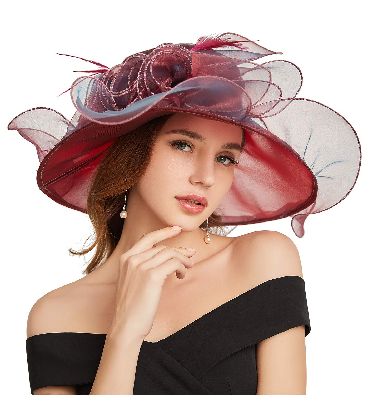 ORIDOOR Women's Organza Fascinator Kentuckky Derby Church Hat for Wedding Tea Party Burgundy