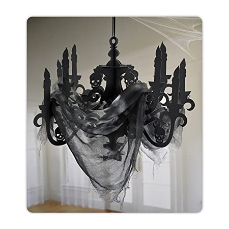 Halloween large paper chandelier with gauze haunted house black halloween large paper chandelier with gauze haunted house black decoration mozeypictures Image collections