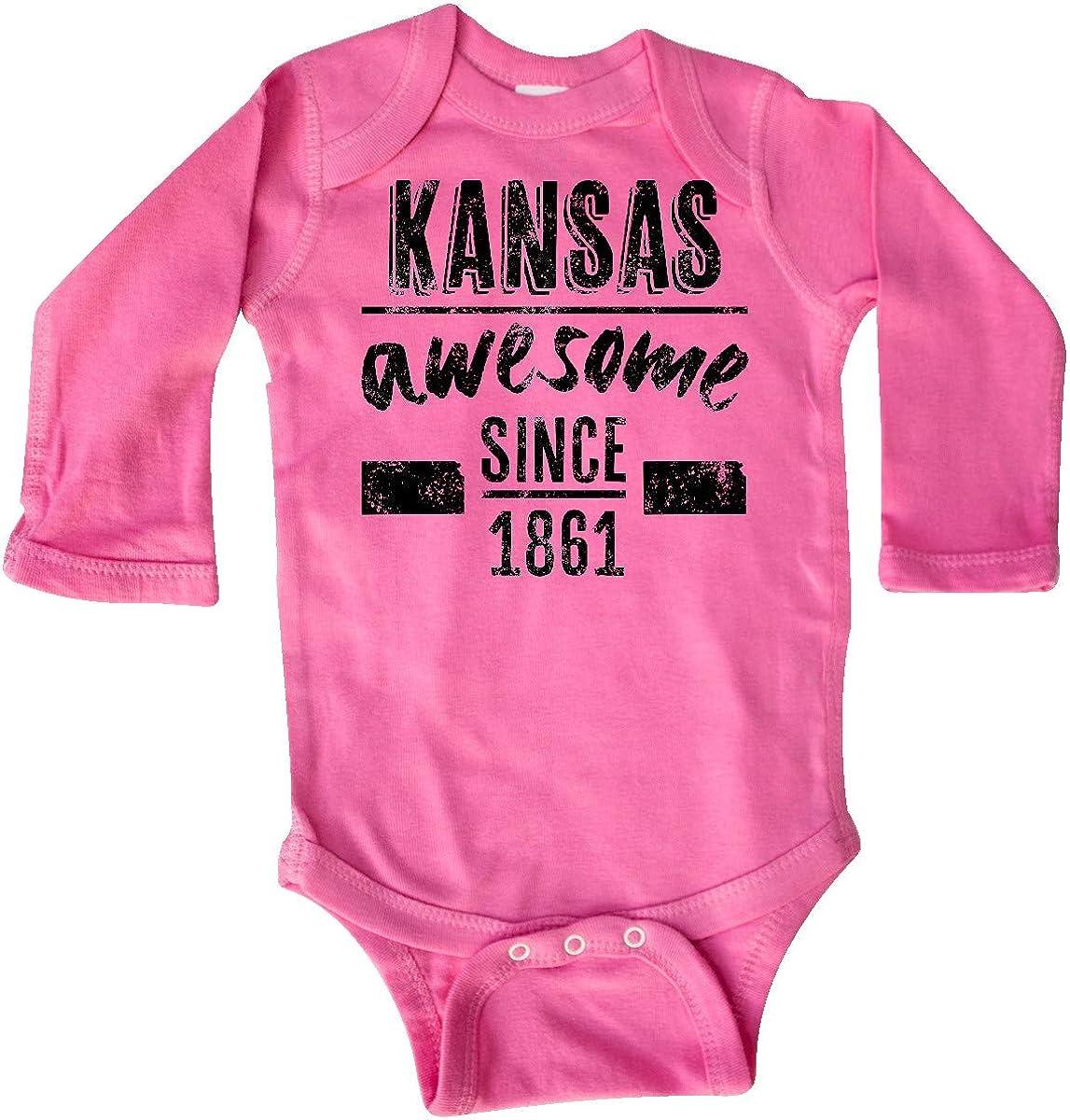 inktastic Kansas Awesome Since 1861 Long Sleeve Creeper