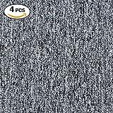 Commercial Carpet Tile, DIY Ribbed Carpet Floor Tiles for Residential Living Room, Flooring, Garage, Basements Carpet Squares for Flooring Use (Grey with White)