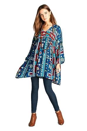 d8515215a5e Velzera Geometric V-Neck Tunic Dress Boho Chic at Amazon Women s ...