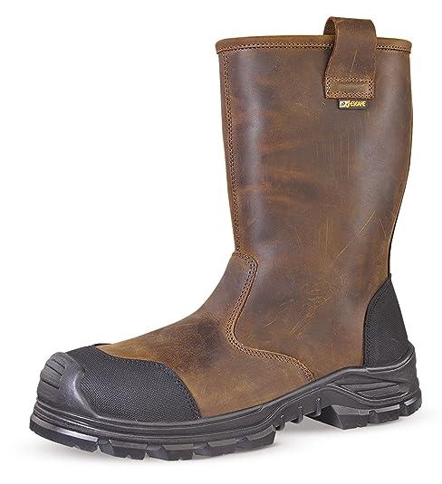Jallatte jalcypress piel plena flor marrón Rigger de seguridad botas de trabajo, color Marrón,