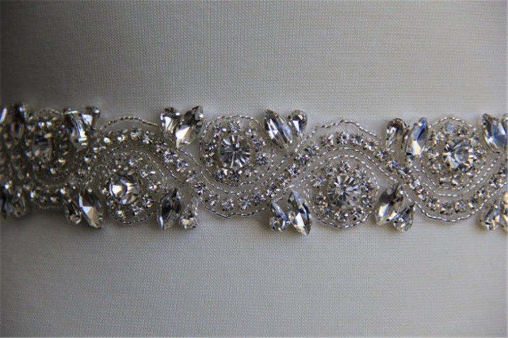 Shinybeauty cintura per abito da sposa in perle e strass per