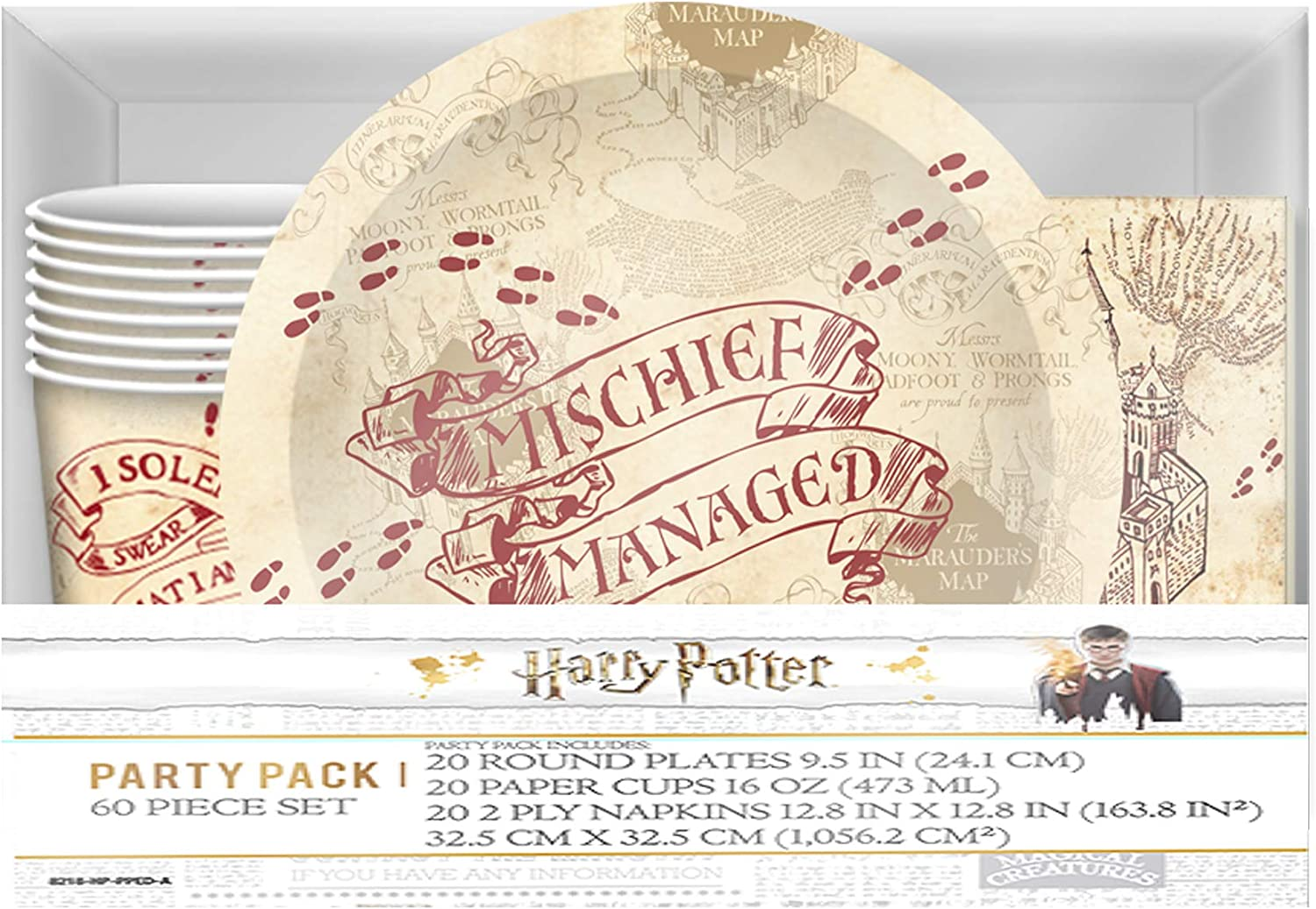 HARRY POTTER Hogwarts Paper Party Pack Set, Cups, Plates and Napkins, 60-Piece, Multicolored