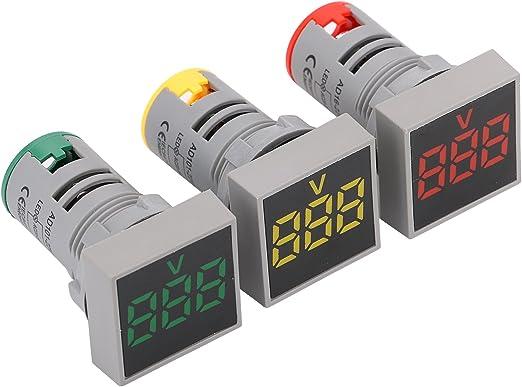 LED Display Voltmeter Round LED Signal Light Lamp AC Digital Display Voltmeter Indicator Yellow