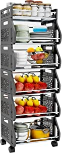 Fruit Storage Basket, 6 Tier Stackable Snack Vegetable Onion Potato Storage Rolling Cart with Wheel, Metal Stand Produce Organizer Rack Bin for Kitchen, Bathroom, Hall, Pantry, Closet