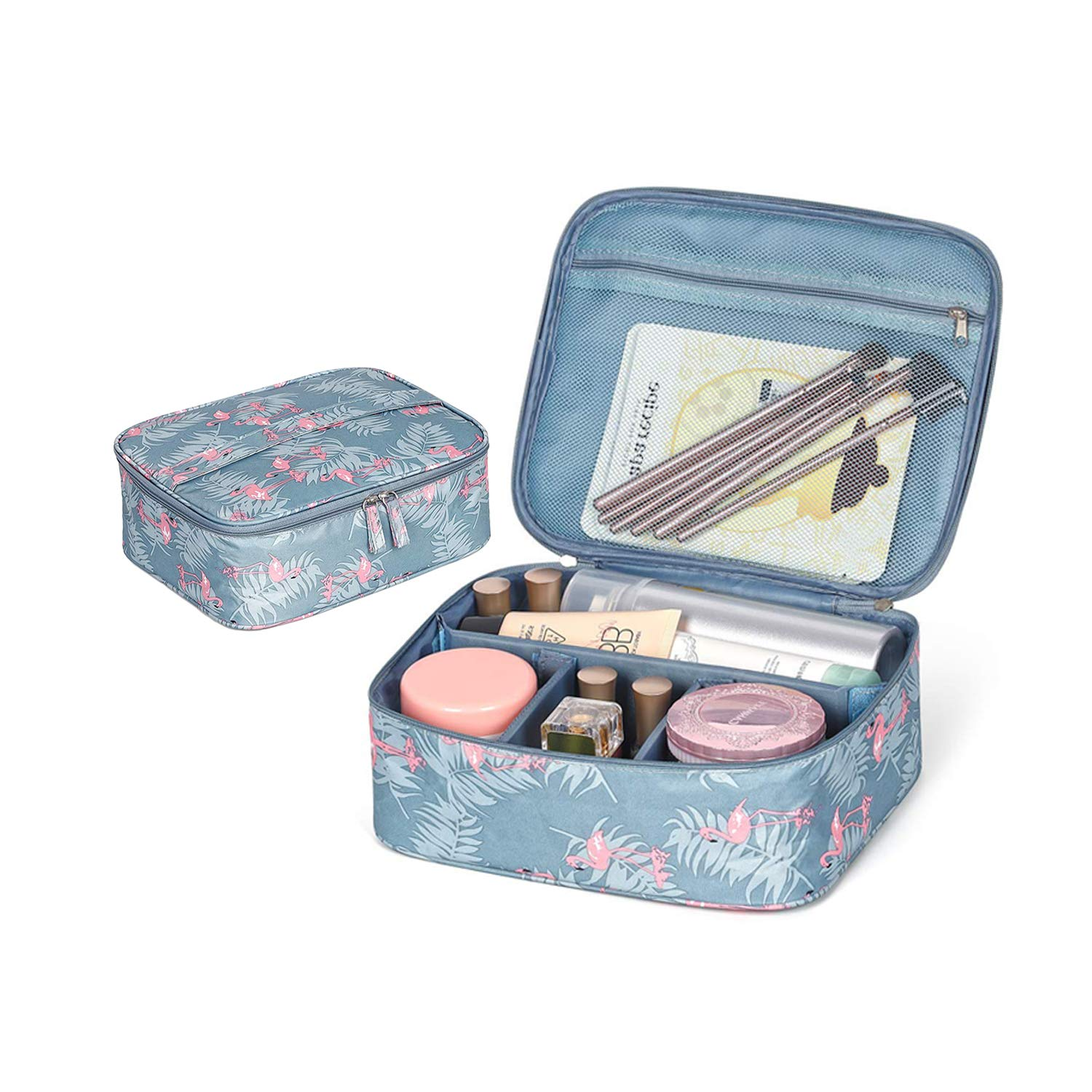 Travel Makeup Bag,Flamingo Cosmetic Case Toiletry Organizer with Adjustable Dividers for Women and Girls