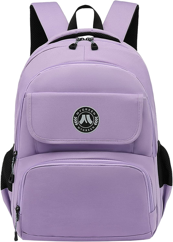Mygreen Laptop Backpack for School Hiking Work with 15.6 in Sleeve | Durable & Dependable Women Girls Bookbag Purple College Backpack Water Resistant