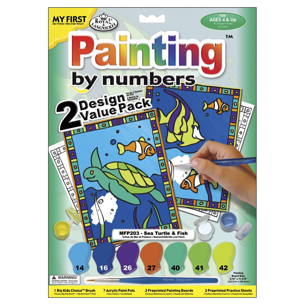 Royal & Langnickel My First Painting by Number Sea Turtle and Fish Designed Painting Set (Pack of 2) 422094