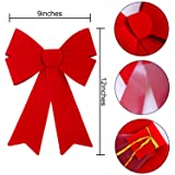 Aneco 6 Pieces Red Christmas Bows Holiday Christmas Wreaths Bows Xmas Red Velvet Christmas Bows for Christmas Party Decoration