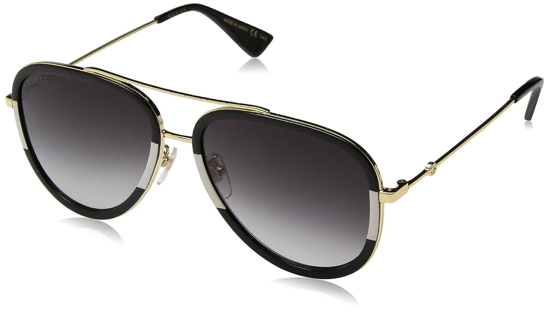Gucci Damen Sonnenbrille GG0062S 006, Gold (Gold/Grey), 57