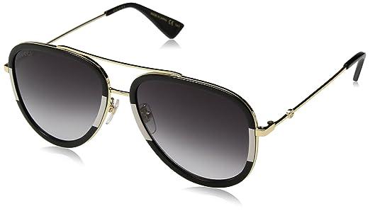 Gucci Damen Sonnenbrille GG0062S 003, Gold (Gold/Green), 57