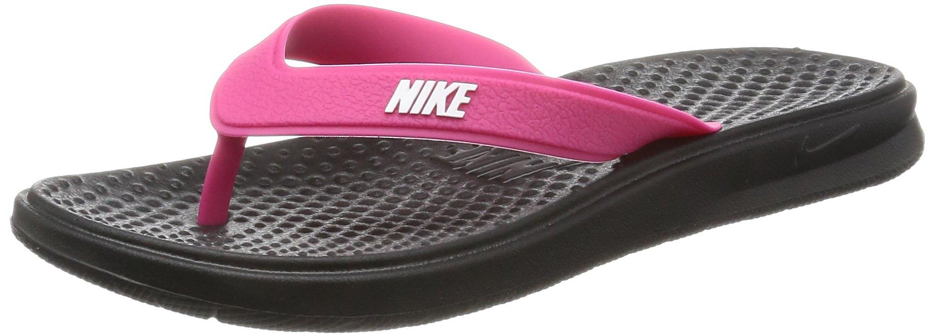 NIKE Women's Solay Thong Sandal, Black/White - Vivid Pink, 5 Regular US by NIKE