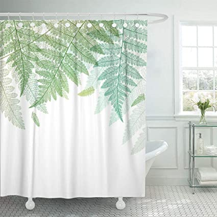 Emvency Fabric Shower Curtain With Hooks Botany Leaf Fern Leaves Green Botanical Abstract Skeleton On White
