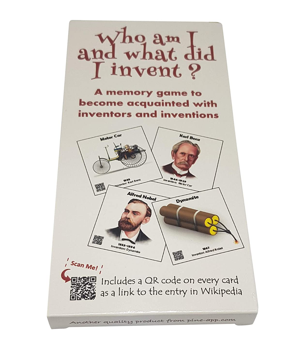Educational Card Game New and Unique Memory Card Game for Ages 6-106 Who am I and What Did I Invent? Improve Memory and Have Fun Learning for The Whole Family Pine-app Inventions and Their Inventors