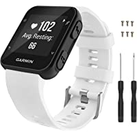 Garmin Forerunner 35 Watch Band MoKo Soft Silicone Replacement Watch Band Sport Bracelet Strap with 6pcs Screws and 2pcs Screwdrivers for Garmin Forerunner 35 GPS Running Smart Watch White