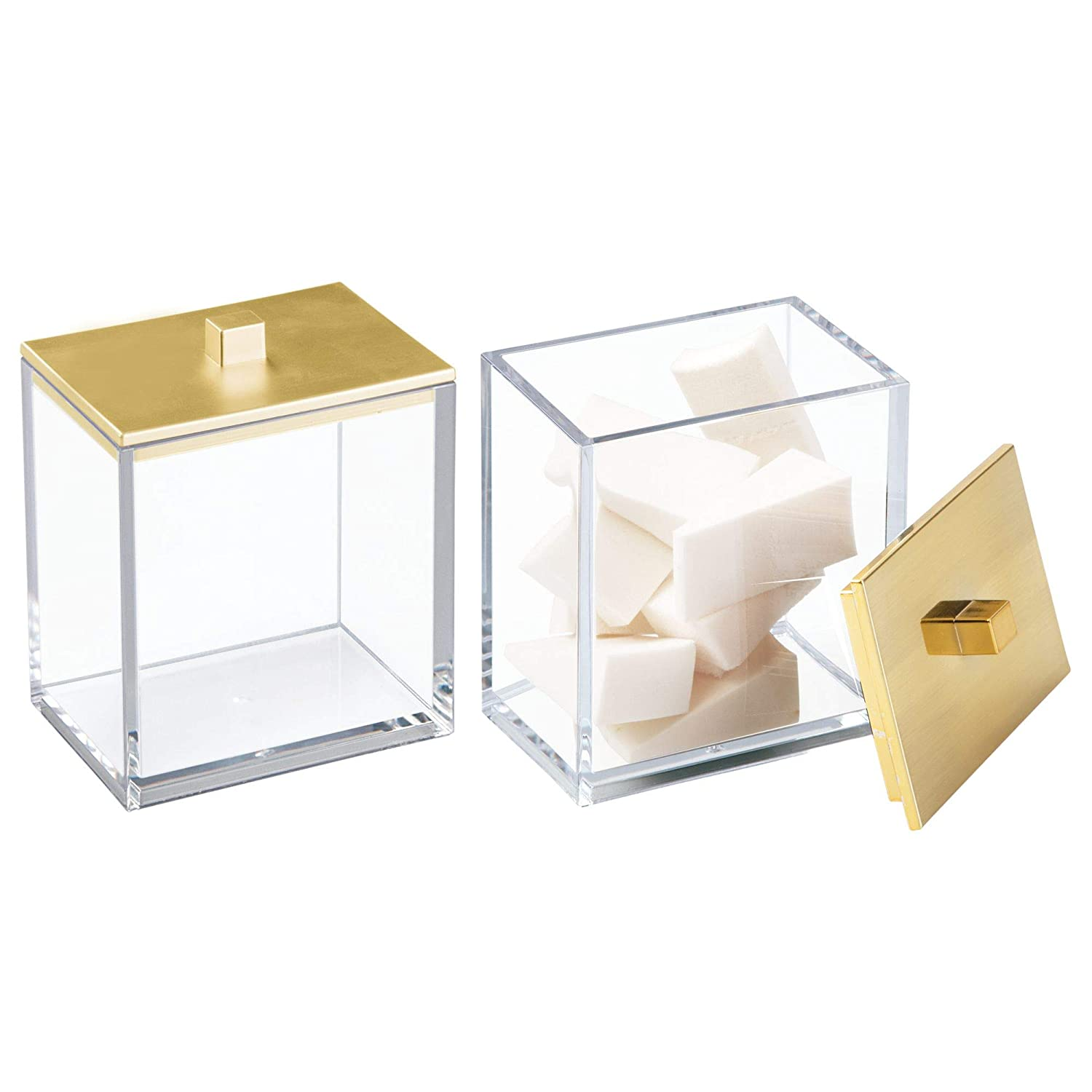 mDesign Modern Square Bathroom Vanity Countertop Storage Organizer Canister Jar Cotton Swabs, Rounds, Balls, Makeup Sponges, Beauty Blenders, Bath Salts - 2 Pack, Clear/Gold Lid