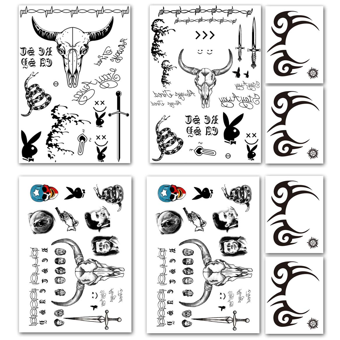 Leoars Halloween Temporary Tattoos, Tribal Face Tattoo Stickers, Black Totem Fake Tattoos Halloween Props Cosplay Makeup, 8-Sheet