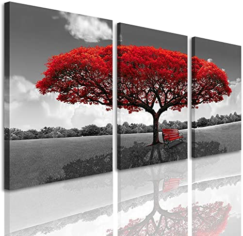 3 Panels Canvas Wall Art Red Tree Picture Prints on Canvas Landscape Painting Modern Giclee Artwork Stretched and Framed Ready to Hang Canvas Art