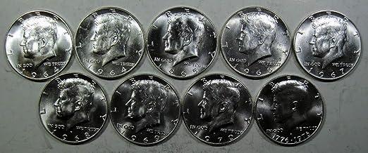 5 COIN SET Silver Kennedy half dollar lot 90/% 1964 /& 40/%1966 1967 1968D 1969D