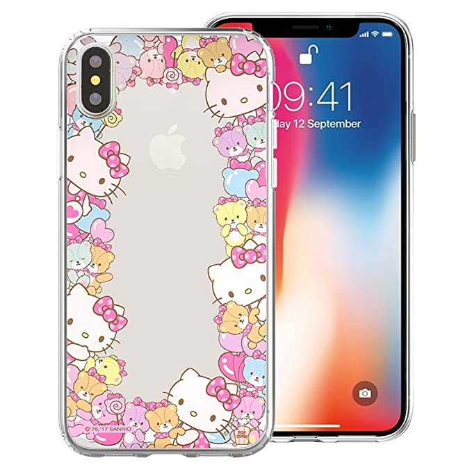 new arrival eb2dd 55b4f iPhone Xs/iPhone X Case Hello Kitty Cute Border Clear Jelly Cover for Apple  iPhone Xs/iPhone X (5.8inch) - Border Hello Kitty