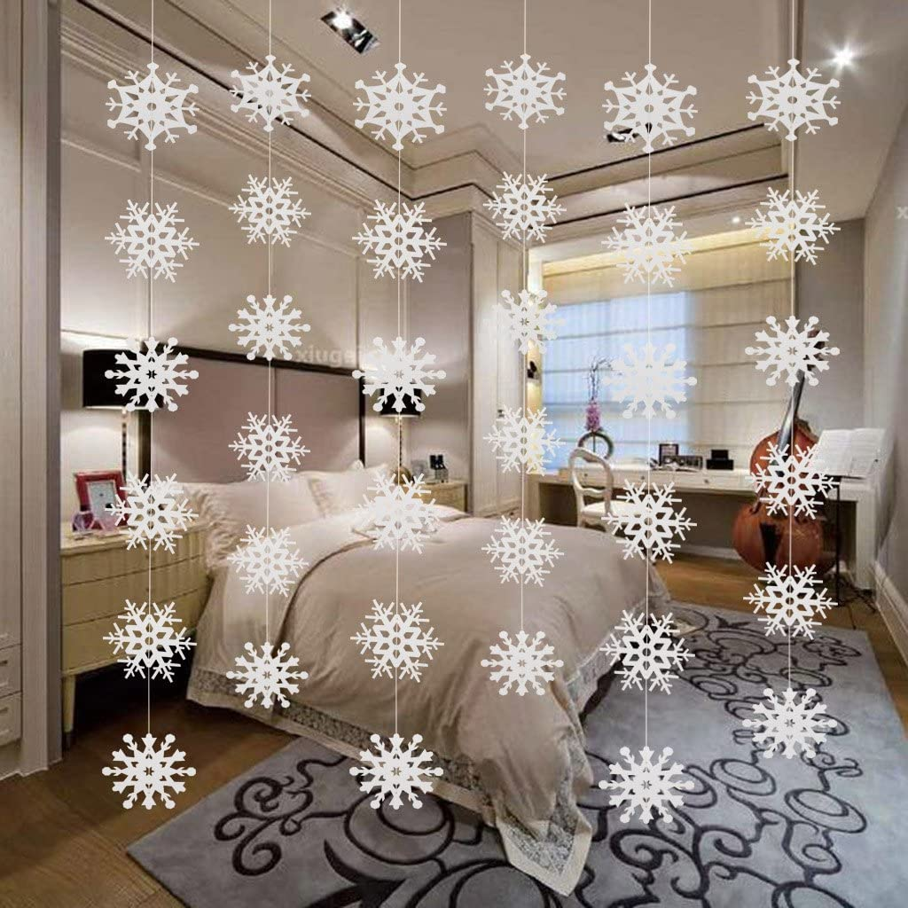Eokeanon 6PCS Snowflake Winter Wonderland Birthday Decorations, Christmas Hanging White Party Decor Supplies, Christmas Snowflake Ornaments, Christmas Snowflake Hanging Garland for Christmas Tree Decorations