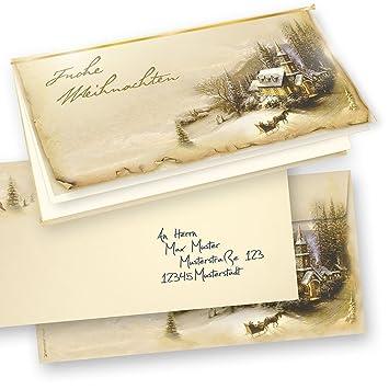 Bedruckte Weihnachtskarten Bestellen.Tatmotive 10 Er Sets Weihnachtskarten Klappkarten Grußkarten Set Motiv Winteridylle Frohe Weihnachten Umschlag Und Einlageblatt Zum Bedrucken