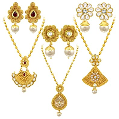 61d5742d5 Buy Sukkhi Fancy Jalebi Gold Plated Set of 3 Necklace Set Combo For Women  Online at Low Prices in India | Amazon Jewellery Store - Amazon.in