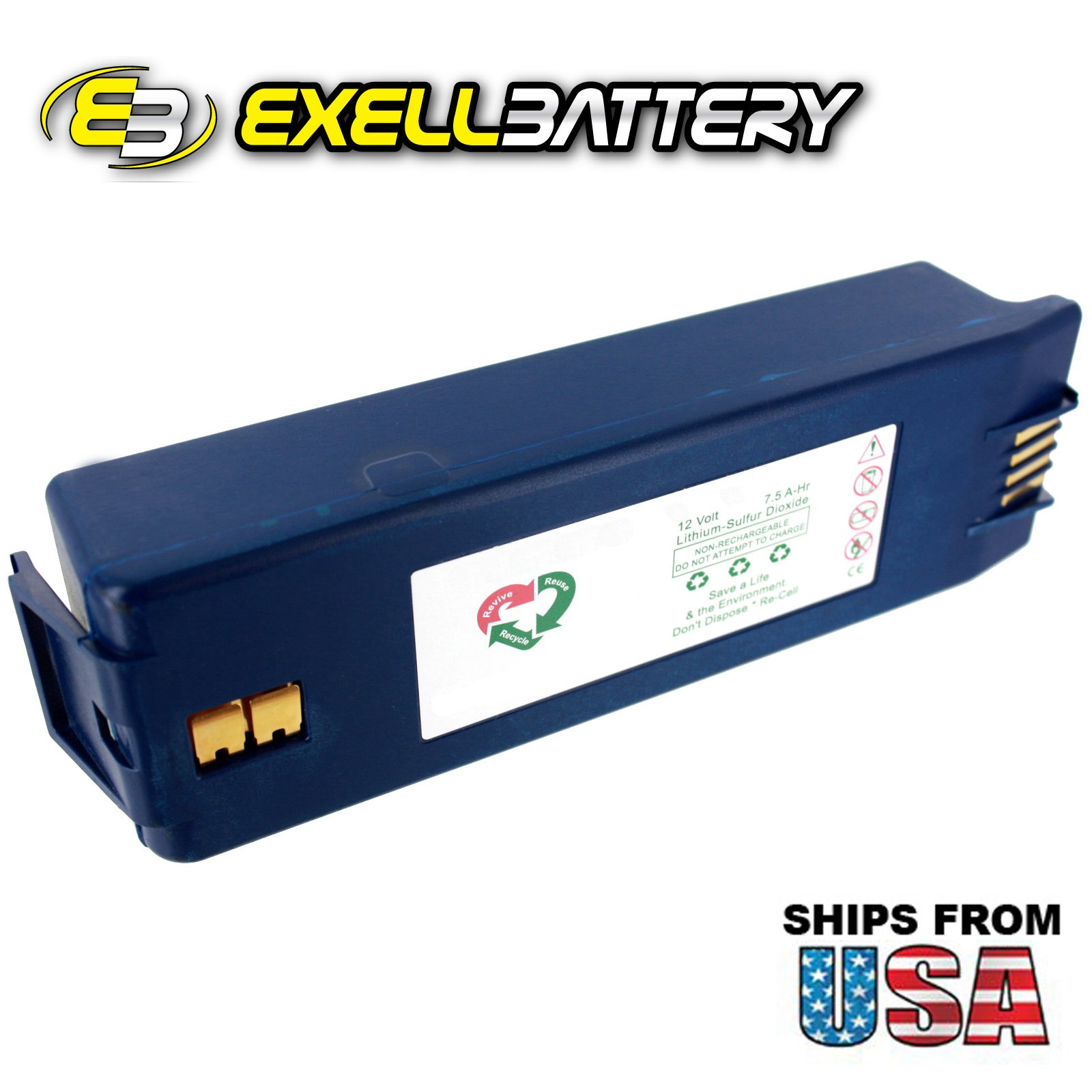 Exell 12V 7.5 A-Hr AED Medical Battery For Save Survivalink & Powerheart AEDs by Exell Battery