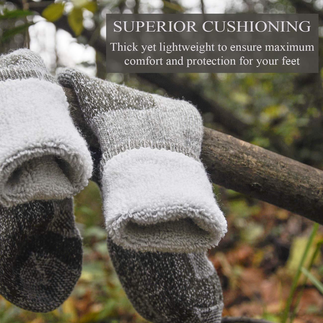 SOLAX Mens Womens Merino Wool Hiking Socks 2 Pairs Outdoor Trail Crew Socks