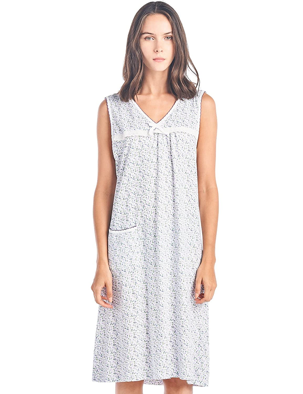 Casual Nights Women's Cotton Sleeveless Nightgown Sleep Shirt Chemise Cotton nighty