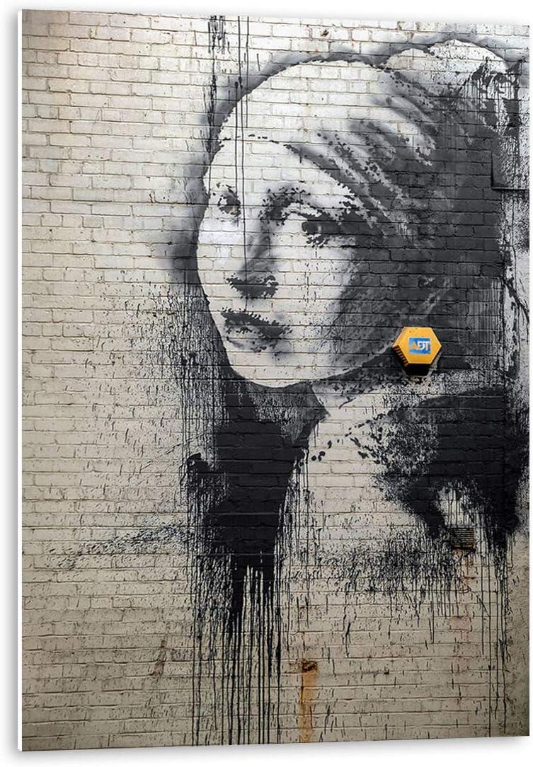 Tangerine Wall | Cuadro Adhesivo de la versión de Banksy de La Joven de la Perla | Tamaño: 30x40 cm | Sticky rígido para Apoyar o Colgar sin Agujeros