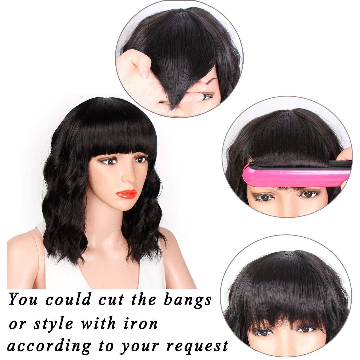 Short Bob Curly Wig, Heat Resistant Synthetic Black Hair Wig with Bangs