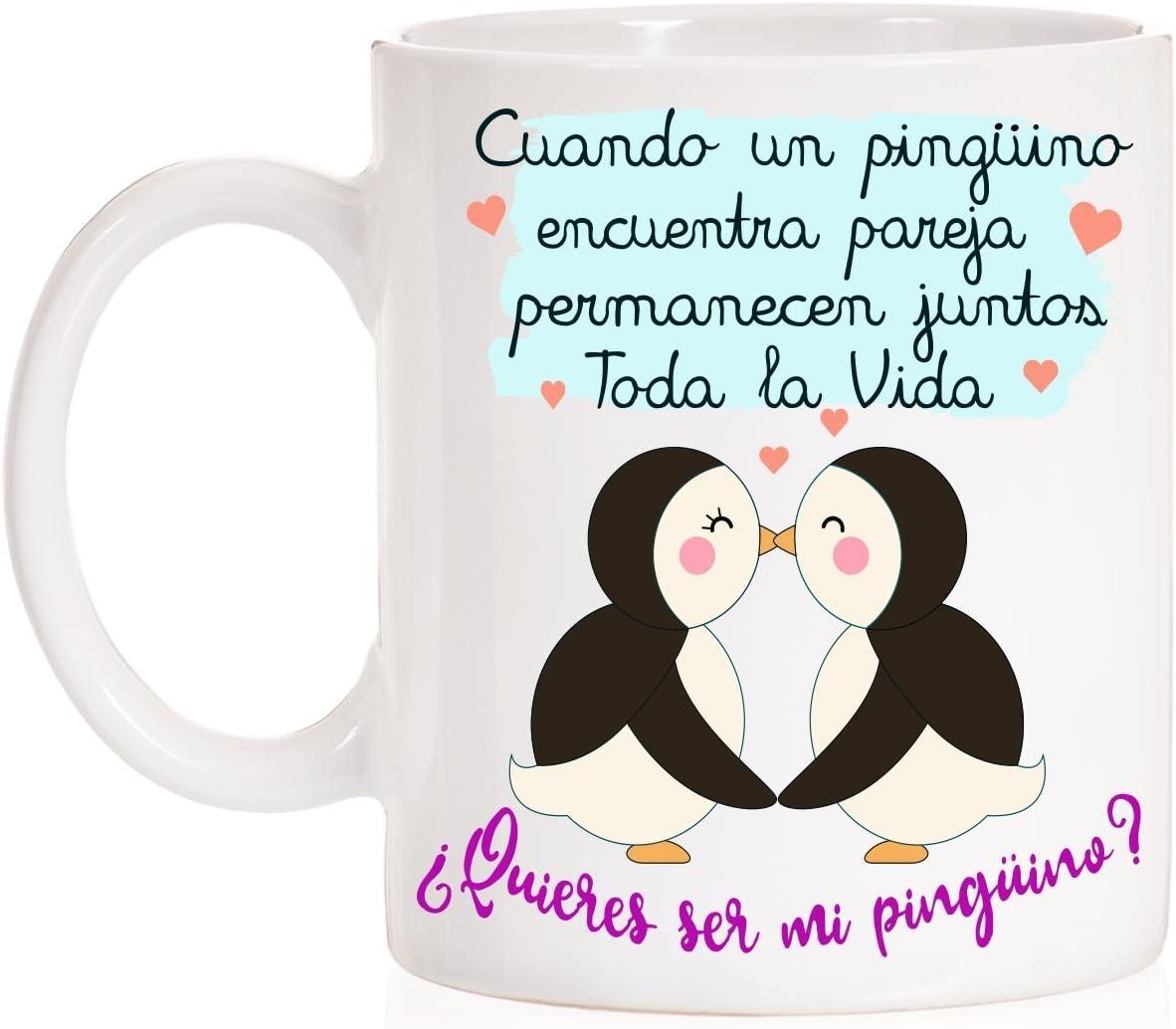 MardeTé Taza Pingüino. Cuando un Pingüino Encuentra Pareja permanecen Juntos Toda la Vida. ¿Quieres ser mi Pingüino?
