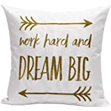 "Ikevan Letters Cotton Linen Square Decorative Throw Pillow Case Cushion Cover White(18"" x 18"") (C)"